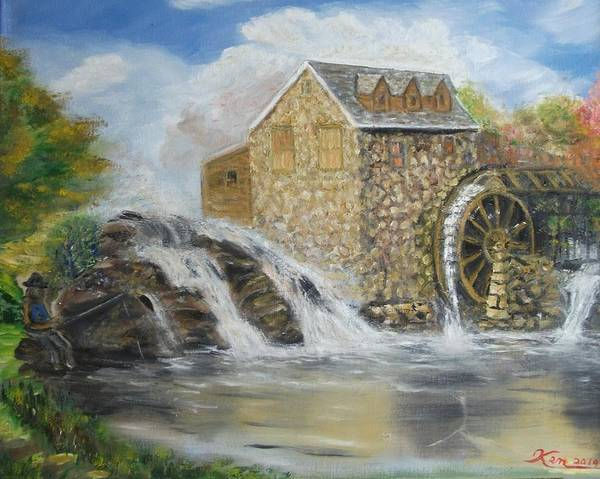 Oil Painting Poster featuring the painting Mill Pond by Kenneth LePoidevin