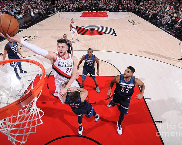 Jusuf Nurkić Poster featuring the photograph Minnesota Timberwolves V Portland Trail by Sam Forencich