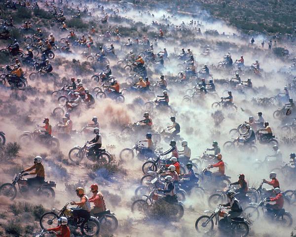 Crash Helmet Poster featuring the photograph Mint 400 Motocross Race by Bill Eppridge