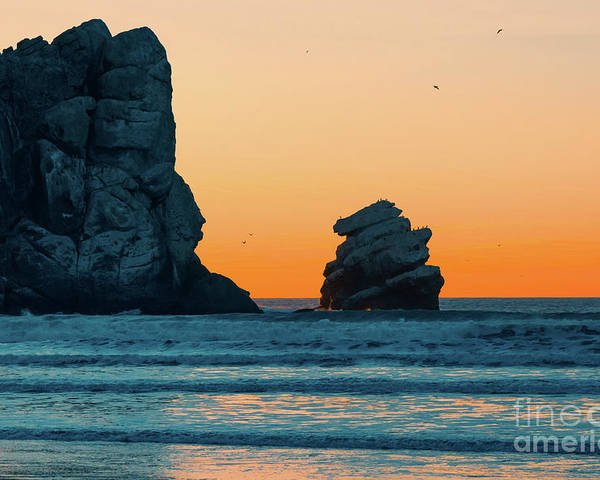 Sunset Poster featuring the photograph Morro Bay Sunset by Hanna Tor