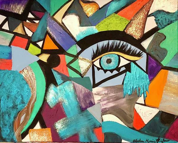 Abstract Poster featuring the painting Motley Eye 4 by Alisha Anglin