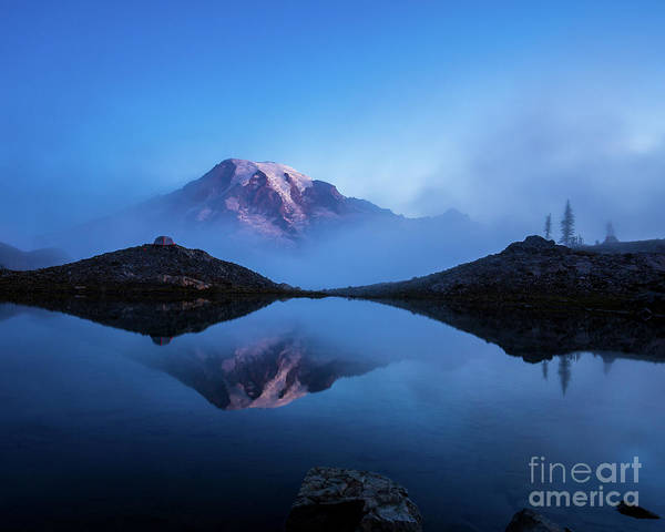 Rainier Poster featuring the photograph Mount Rainier In The Mist by Mike Reid