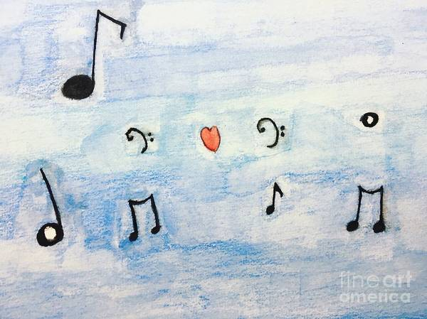 Music Poster featuring the painting Music In The Air by Epic Luis Art