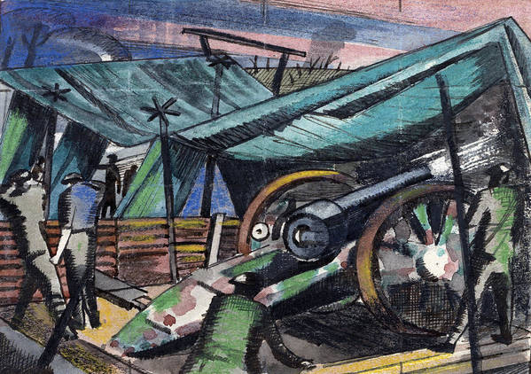 B1019 Poster featuring the painting A Howitzer Firing, 1918 by Paul Nash