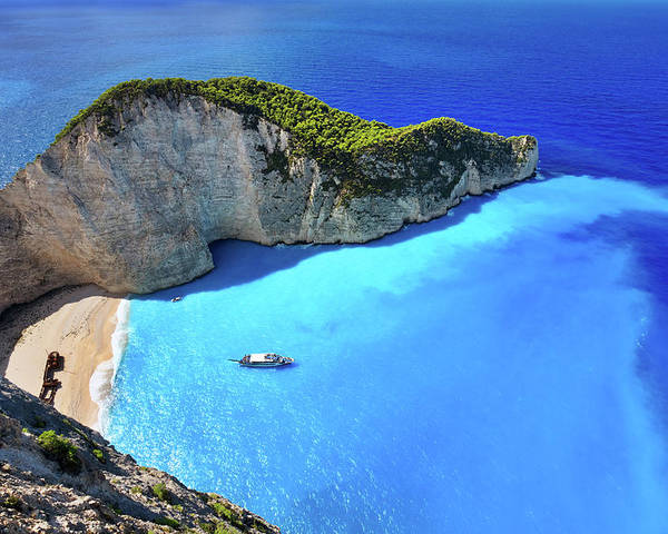 Extreme Terrain Poster featuring the photograph Navagio Beach, Zakynthos Island, Greece by Rusm