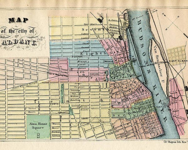 Map Of New York 1850.New York Albany 1850 To 1899 Poster