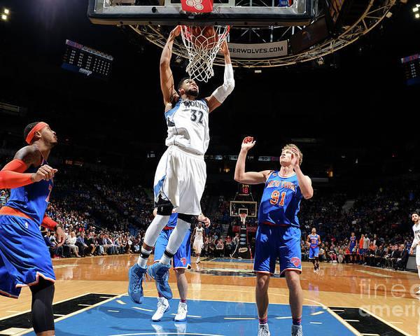 Nba Pro Basketball Poster featuring the photograph New York Knicks V Minnesota Timberwolves by David Sherman