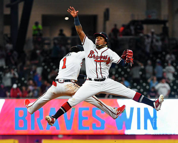 Atlanta Poster featuring the photograph New York Mets V Atlanta Braves by John Amis