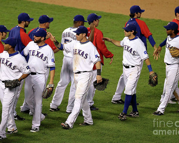 Playoffs Poster featuring the photograph New York Yankees V Texas Rangers, Game 2 by Ronald Martinez