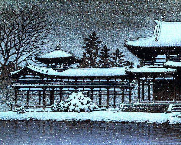 Kawase Hasui Poster featuring the painting Night Snow In The Houodo - Digital Remastered Edition by Kawase Hasui