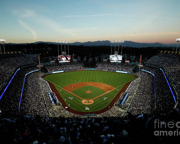 American League Baseball Poster featuring the photograph Nlcs - Chicago Cubs V Los Angeles by Josh Lefkowitz
