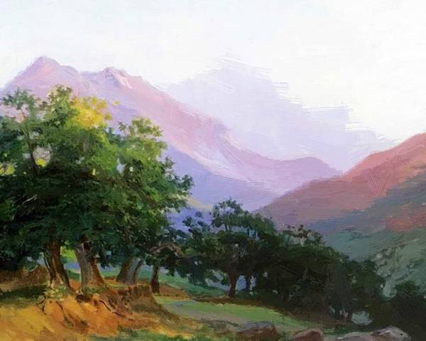 Oaks Poster featuring the painting Oaks In The Mountains Of Carrara by Ge Nikolai