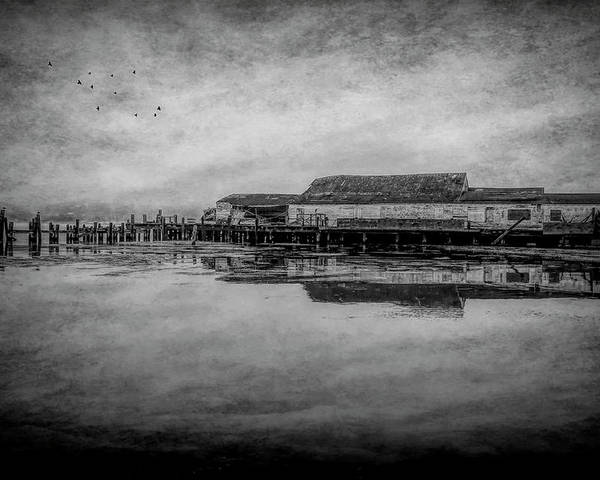 Old Warf Reflection Poster featuring the photograph Old Warf Reflection by Garry Gay
