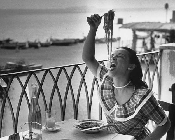 Italian Food Poster featuring the photograph Pasta With Gusto by Bert Hardy