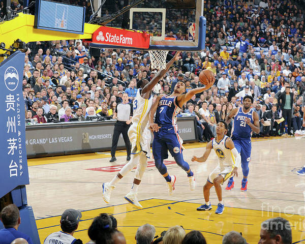 Nba Pro Basketball Poster featuring the photograph Philadelphia 76ers V Golden State by Andrew D. Bernstein