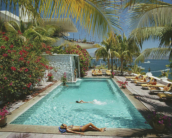 People Poster featuring the photograph Pool At Las Hadas by Slim Aarons