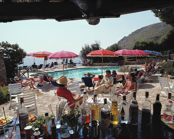 1980-1989 Poster featuring the photograph Poolside Bar by Slim Aarons