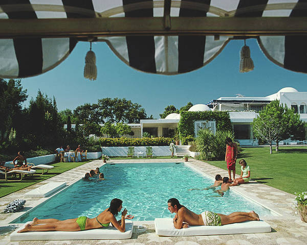 People Poster featuring the photograph Poolside In Sotogrande by Slim Aarons