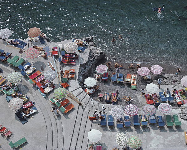 Curve Poster featuring the photograph Positano Beach by Slim Aarons