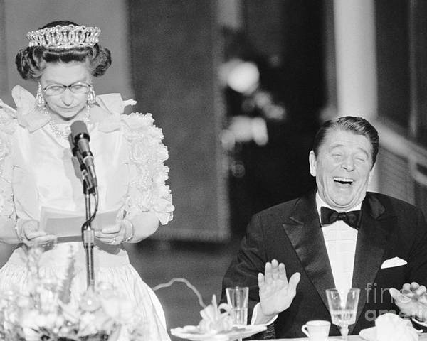 Following Poster featuring the photograph President Reagan Laughing At Queens by Bettmann