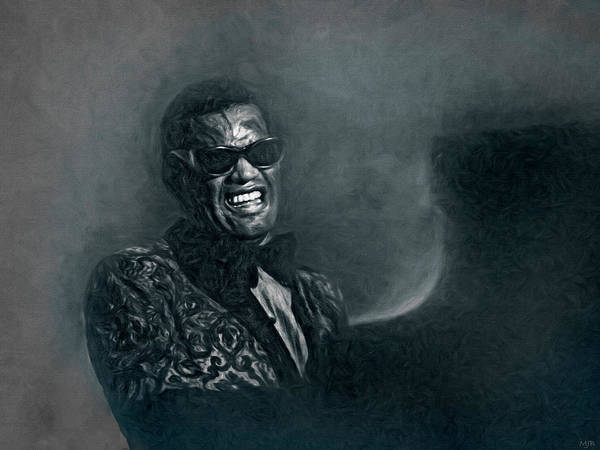 Poster featuring the mixed media Ray Charles by Mal Bray
