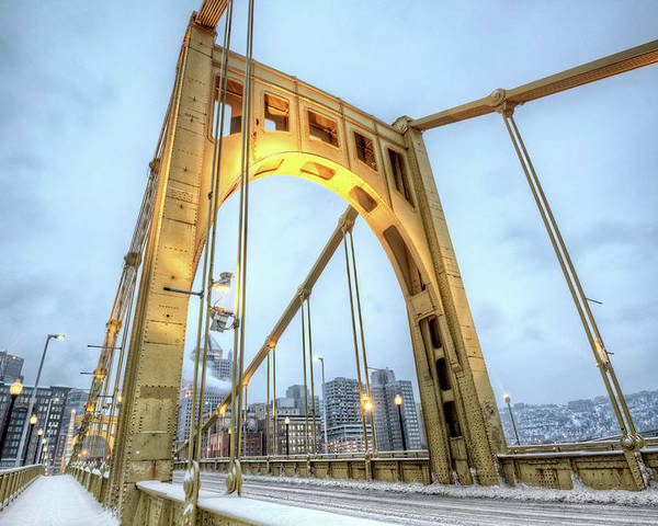 Arch Poster featuring the photograph Roberto Clemente Bridge by Hdrexposed - Dave Dicello Photography