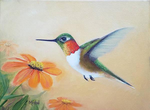 Rufous Hummingbird Poster featuring the painting Rufous In Marigolds by Mishel Vanderten