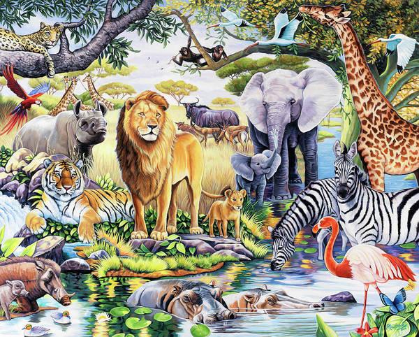 Safari Wildlife Poster featuring the painting Safari Wildlife by Jenny Newland