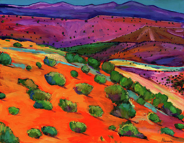 New Mexico Poster featuring the painting Sage Slopes by Johnathan Harris
