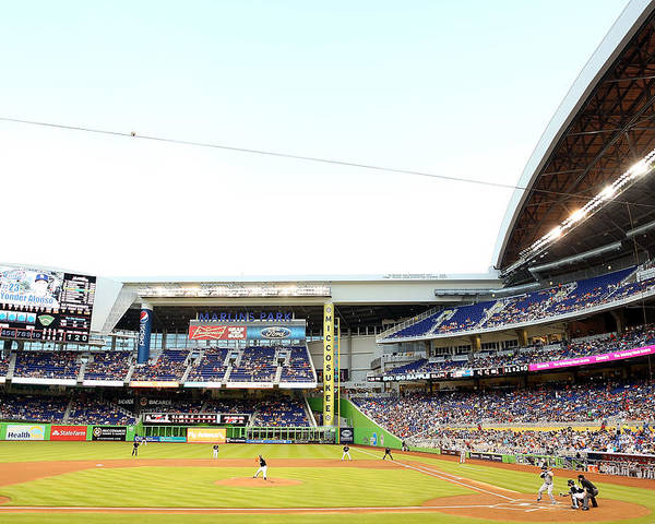 American League Baseball Poster featuring the photograph San Diego Padres V Miami Marlins by Marc Serota