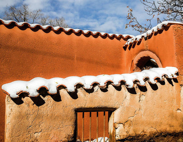 Adobe Poster featuring the photograph Santa Fe Abobe with Snow by Candy Brenton