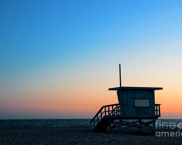 Sunrise Poster featuring the photograph Santa Monica Beach Safeguard Tower At by Songquan Deng