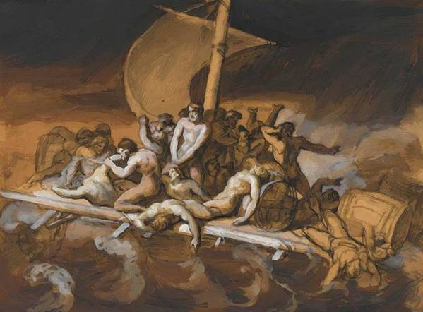 Scene Poster featuring the painting Scene Of Cannibalism For The Raft Of The Medusa by Gericault Theodore