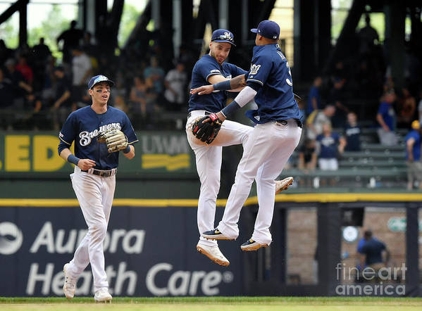 People Poster featuring the photograph Seattle Mariners V Milwaukee Brewers by Quinn Harris