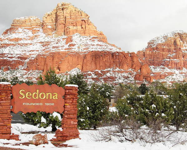 Scenics Poster featuring the photograph Sedona Red Rock Sign Snow by Sassy1902