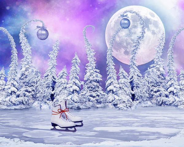 Christmas Poster featuring the digital art Skating Time by Mihaela Pater