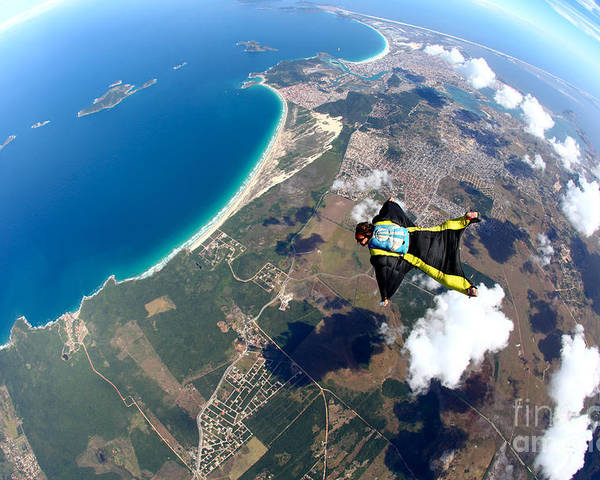 Altitude Poster featuring the photograph Skydive Wing Suit Over Brazilian Beach by Rick Neves