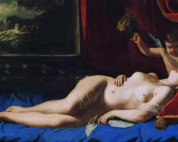 Sleeping Poster featuring the painting Sleeping Venus 1630 by Gentileschi Artemisia