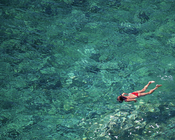 Recreational Pursuit Poster featuring the photograph Snorkeling In The Mediterranean Sea by Photovideostock