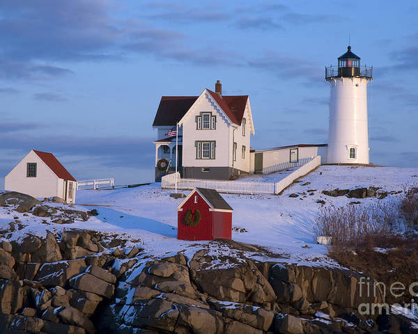Cozy Poster featuring the photograph Snow Covered Lighthouse During Holiday by Allan Wood Photography