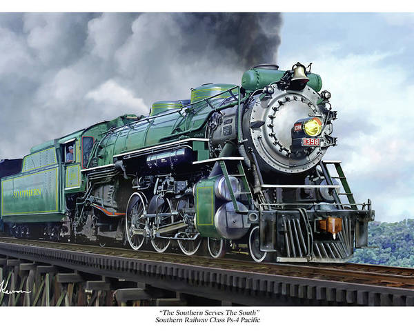 Railraod Poster featuring the painting Southern Railway Class Ps-4 Pacific by Mark Karvon
