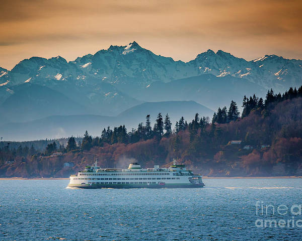 Seattle Poster featuring the photograph State Ferry And The Olympics by Inge Johnsson