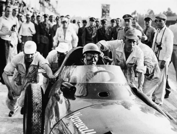 Crash Helmet Poster featuring the photograph Stirling Moss In A Vanwall, Italian by Heritage Images