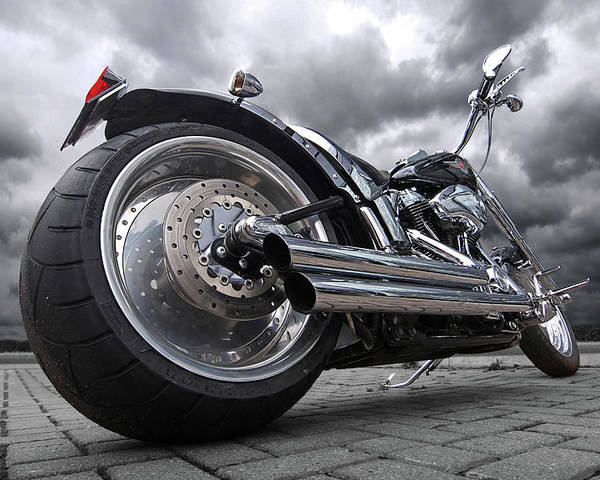 Harley Davidson Motorcycle Poster featuring the photograph Storming Harley by Gill Billington