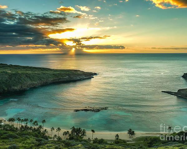 Sunrise Poster featuring the photograph Sunrise Over Hanauma Bay On Oahu Hawaii by Leigh Anne Meeks