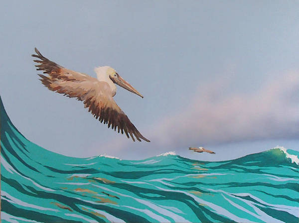 Pelicans Poster featuring the painting Surfing by Philip Fleischer