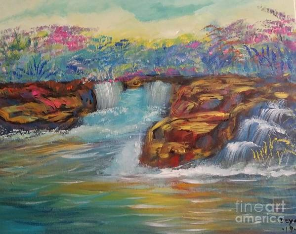 Waterfall Poster featuring the painting Surrendered by Deyanira Harris
