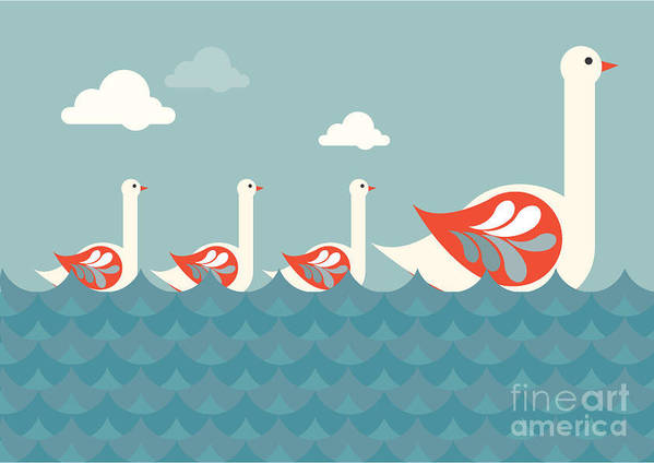 Sky Poster featuring the digital art Swans Vectorillustration by Lyeyee