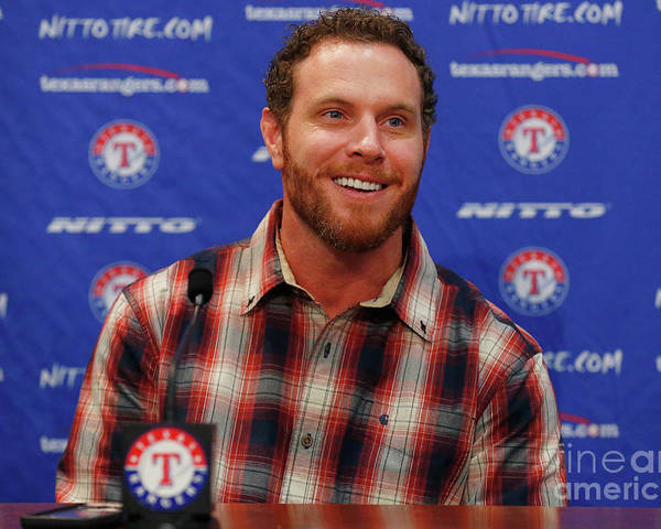People Poster featuring the photograph Texas Rangers Introduce Josh Hamilton by Tom Pennington