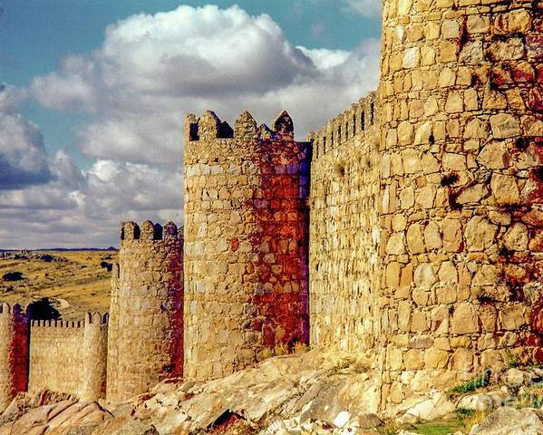 Ancient Poster featuring the photograph The Ancient City Of, Avila, Spain - Medieval City Walls by D Davila